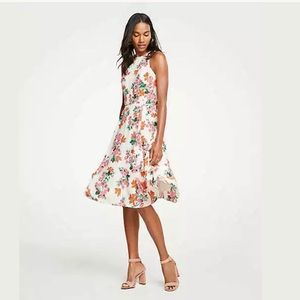 🆕 Ann Taylor Floral Halter Bow Back Flare Dress